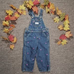 Oshkosh toddler overalls with embroidered hearts